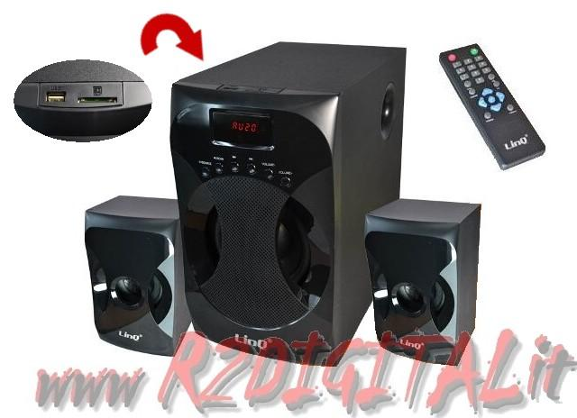 HIFI A3303 ALTOPARLANTI 2.1 TV CASSE PC HOME THEATRE RADIO + USB